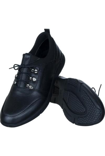 Libano Siyah Dikiş Motifli Neoprenli Bağcıklı Erkek Ayakkabı