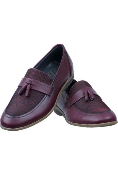 Libano Bordo Hasırlı Püsküllü Klasik Erkek Ayakkabı