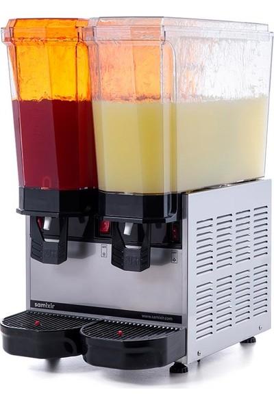 Samixir Klasik Twin Soğuk İçecek Dispenseri, 20+20 L, Fıskiyeli, Inox