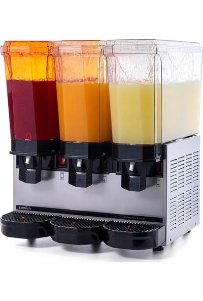 Samixir Klasik Triple Soğuk İçecek Dispenseri, 20+20+20 L, Fıskiyeli, Inox