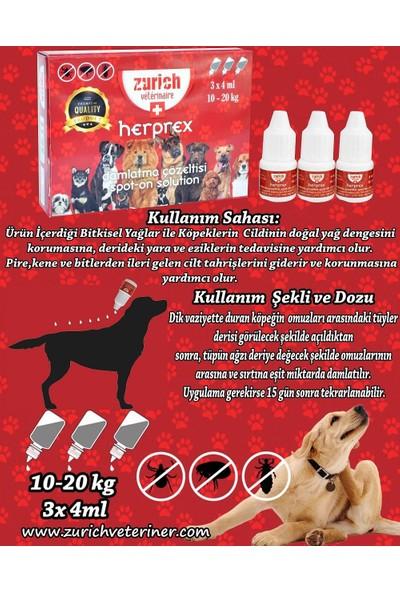Zurich Veterinaire 10-20kg Köpekler İçin Bit Pire ve Tüy Bakım Ense Damlası 3x4ml Skt:07.2020
