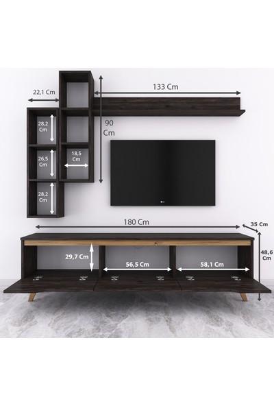 Rani D1 Duvar Raflı Kitaplıklı Tv Ünitesi Duvara Monte Dolaplı Ahşap Ayaklı Tv Sehpası Siyah Ceviz M16