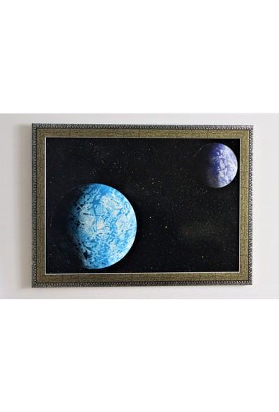 Can Pulat Akrilik Resim Uzay Temalı Dekoratif Çerçeveli Tablo