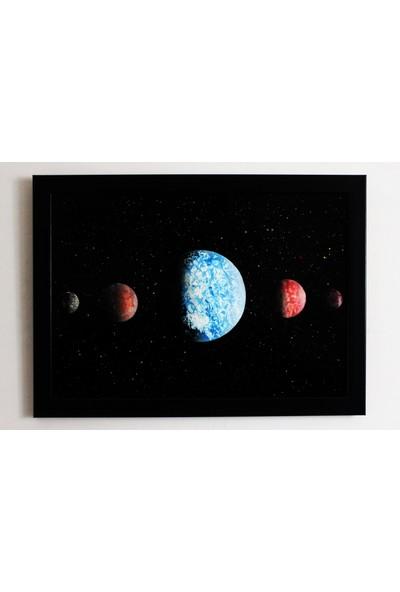 Can Pulat Uzay Temalı Siyah Çerçeveli Tablo