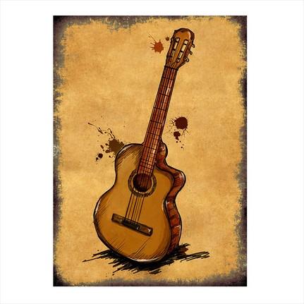 Tablomega Ahşap Tablo Yağlı Boya çizim Gitar