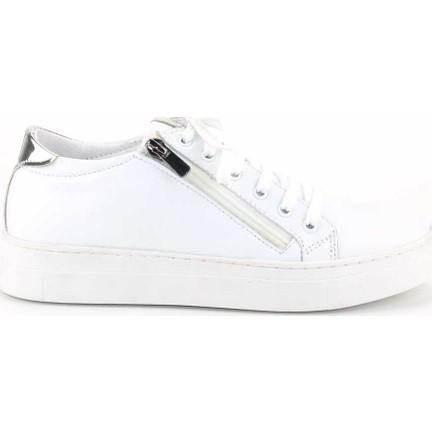 1c725b56fd13c Modabuymus Hakiki Deri Gümüş Detaylı Beyaz Günlük Fermuarlı Kadın Spor  Ayakkabı Herzey