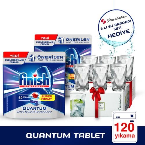 Finish Bulaşık Makinesi Deterjanı Quantum Tablet 60 x 2 (120 Adet) + Paşabahçe Su Bardağı 6'lı