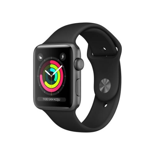 Apple Watch Seri 3 GPS 38 mm Uzay Grisi Alüminyum Kasa ve Siyah Spor Kordon - MTF02TU/A
