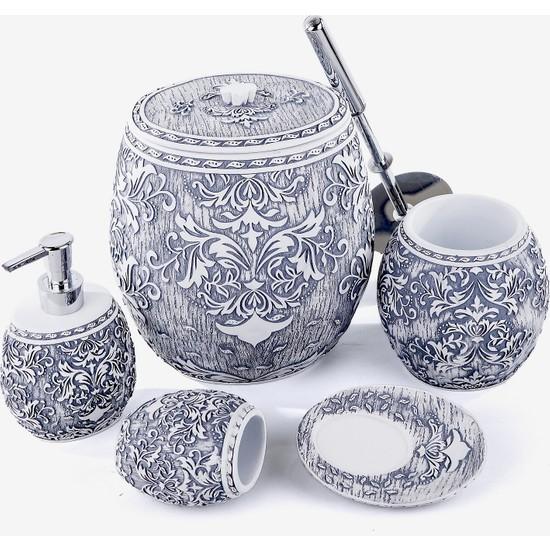 Mukko Home Polyester 5 Parça Banyo Seti / Ottoman Gümüş