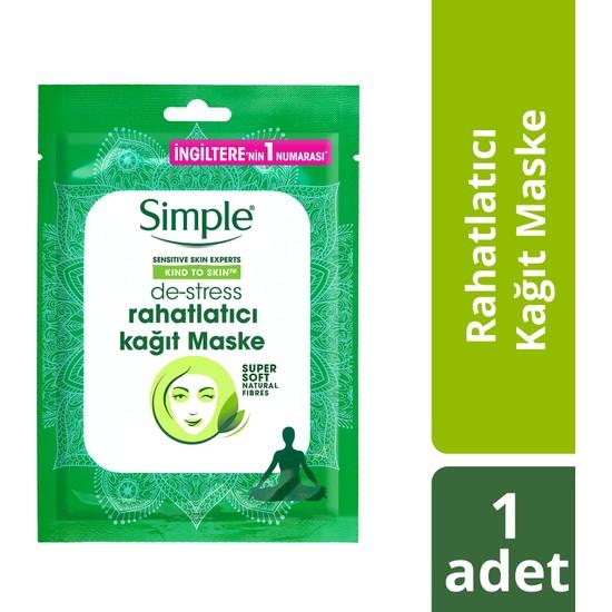 Simple Kind To Skin Hassas Ciltlere Uygun De-Stress Rahatlatıcı Kağıt Maske 21 Ml
