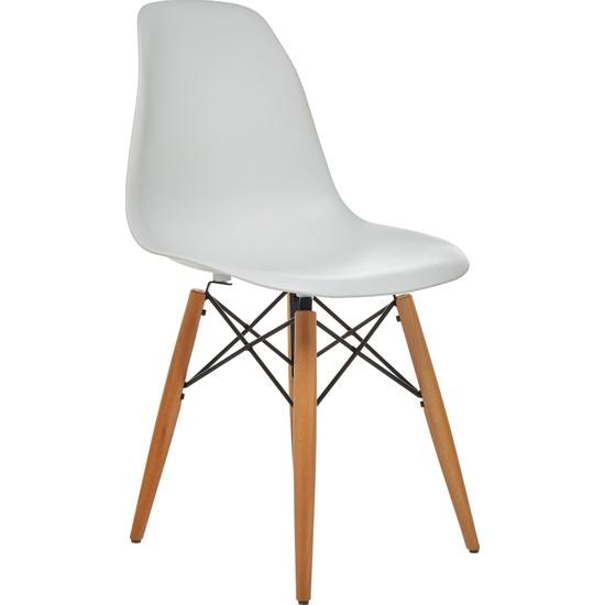 Seduna Beyaz Eames Sandalye - Natural Ahşap Ayaklı