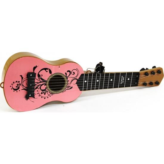 Aslan Oyuncak İspanyol Gitar Pembe Ahşap Görünümlü