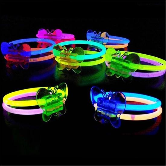 Samur Neonlu Kelebek Bileklik Bilezik Kırmızı Renk