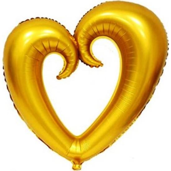 KBK Market 100*108 cm Altın Kalpli İçiboş Folyo Balon