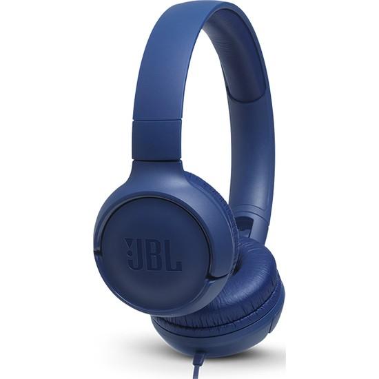 JBL T500 Mikrofonlu Kablolu Kulaküstü Mavi Kulaklık