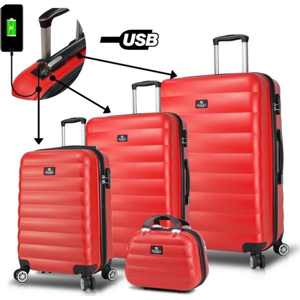 6aad0eb478bfe My Valice Smart Bag Colors Usb Şarj Girişli 4'lü Valiz Seti (Travel Set