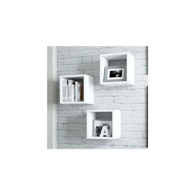 25e0eb404424c Binbirreyon Küp Kutu Raf Seti Üçlü Duvar Rafı Beyaz BD093 Fiyatı