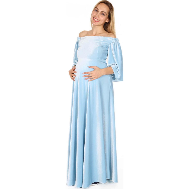 d0691b03c129d Moda Labio Düşük Omuz Dökümlü Bebe Mavi Hamile Elbisesi Fiyatı