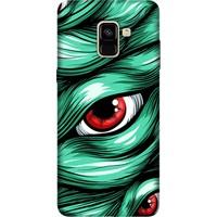 Cekuonline Samsung Galaxy A8 Plus 2018 Desenli Esnek Silikon Telefon Kapak Kılıf - Kanlı Gözler