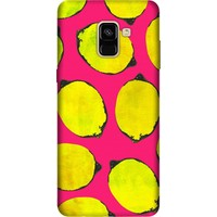 Cekuonline Samsung Galaxy A8 Plus 2018 Desenli Esnek Silikon Telefon Kapak Kılıf - Limon