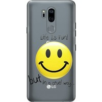 Cekuonline LG G7 ThinQ Desenli Esnek Silikon Telefon Kapak Kılıf - Life is Fun