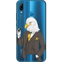 Cekuonline Huawei P20 Lite Desenli Esnek Silikon Telefon Kapak Kılıf - Kartal Bey