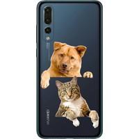 Cekuonline Huawei P20 Pro Desenli Esnek Silikon Telefon Kapak Kılıf - Köpek Kedi