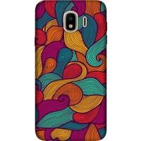 Cekuonline Samsung Galaxy J4 (2018) Desenli Esnek Silikon Telefon Kapak Kılıf - Renkli Dalga