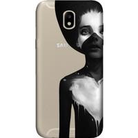 Cekuonline Samsung Galaxy J7 Pro J730 Desenli Esnek Silikon Telefon Kapak Kılıf - Siyahlı Kadın