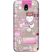 Cekuonline Samsung Galaxy J7 Pro J730 Desenli Esnek Silikon Telefon Kapak Kılıf - Pinkology