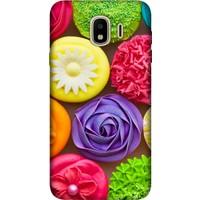 Cekuonline Samsung Galaxy J6 (2018) Desenli Esnek Silikon Telefon Kapak Kılıf - Renkli Kekler