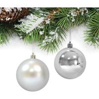 PartiBulutu Yılbaşı Gümüş Parlak-Mat Top Ağaç Süsü 6cm 6'lı
