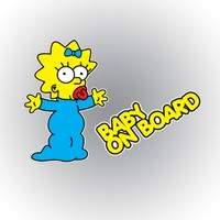 Otografik - Maggie Simpson Baby On Board Renkli Oto Sticker 9 cm x 13 cm