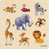 Hi-Q Toys Ahşap Tutmalı Puzzle Vahşi Hayvanlar