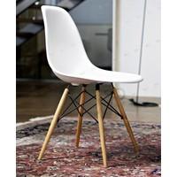 Büromotto Eames Sandalye, Mutfak Sandalyesi, Natural Ahşap Ayak - Beyaz