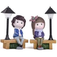 Mukko Home lambalı Genç Çift Biblo Set / Okuma lambası 17 cm