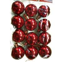 Happy Land Yeniyıl Noel Yılbaşı Çam Ağacı Kırmızı 12 Li Top 4 Cm