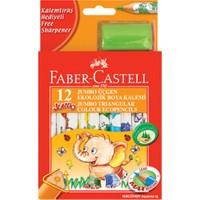 Faber-Castell Jumbo Üçgen Beyaz Gövde Boya Kalemi 12 Renk Yarım Boy
