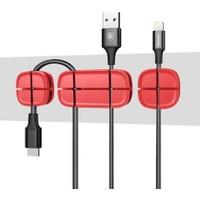 Baseus Kablo Tutucu Organizer - Kırmızı