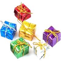 Balonpark 6 Adet Rengarenk Hediye Paketi Görünümlü Yılbaşı Ağacı Süsü