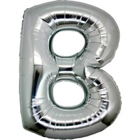 Balonpark Harf Folyo Balon B Harfi Büyük Boy Balon Gümüş/Gri 100CM