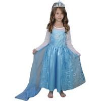 Butikhappykids Kız Çocuk Prenses Elsa Kostümü Uzun Pelerinli Model Ve Taç