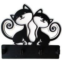 CajuArt Sevimli Kediler Lazer Kesim Duvar Anahtarlık Anahtar Askısı