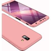 Case 4U Samsung Galaxy J6 Plus Kılıf 360 Derece Korumalı Tam Kapatan Koruyucu Sert Silikon Ays Kılıf - Rose Gold