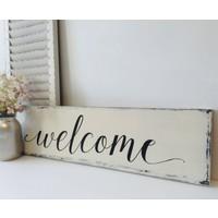 Dekorbizden Eskitme Ahşap Welcome Kapı Duvar Süsü
