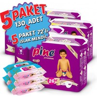 Pine Bebek Bezi 5'li Paket 5+ Beden 130 Adet + Islak Mendil 360 Adet