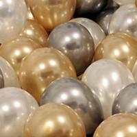 PartiniSeç 30 Adet Metalik Sedefli Gold-Gümüş Gri-Beyaz Balon, Helyumla Uçan
