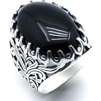 Takıhan Siyah Oniks Taşlı Desenli Gümüş Yüzük