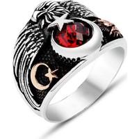Nereze Kırmızı Zirkon Taşlı Ay Yıldız Erkek Gümüş Yüzük Nrz3094
