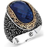 Nereze 925 Ayar Gümüş Mavi Kesme Zirkon Erkek Gümüş Yüzük Nrz028
